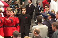October 4, 2000 - file Photo - Montreal (Quebec) CANADA <br /> - Funeral of former Canadien Prime Minister Pierre Eliott Trudeau :Sacha (L) and Justin (R) TRudeau