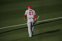 OAKLAND, CA - JULY 24:  Mike Trout #27 of the Los Angeles Angels walks out to center field to take batting practice in the indoor cage before the game against the Oakland Athletics on Opening Night at the Oakland Coliseum on Friday, July 24, 2020 in Oakland, California. The 2020 season had been postponed since March due to the COVID-19 pandemic. (Photo by Brad Mangin)