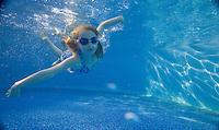 Child swimming, New Jersey