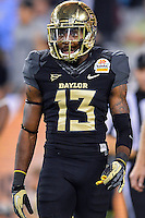 January 01, 2014:<br /> <br /> Baylor Bears safety Terrell Burt #13 reacts after a scoring drive by UCF Knights during Tostitos Fiesta Bowl at University of Phoenix Stadium in Scottsdale, AZ. UCF defeat Baylor 52-42 to claim it's first ever BCS Bowl trophy.