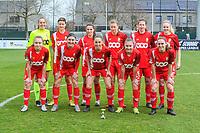 team picture Standard ( Goalkeeper Lisa Lichtfus (16) , Maurane Marinucci (7) , Constance Brackman (20) , Aster Janssens (5) , Sanne Schoenmakers (8) , Merel Bormans (4) and Gwyneth Vanaenrode (3) , Noemie Gelders (10) , Charlotte Cranshoff (18) , Davinia Vanmechelen (25) , Elien Nelissen (15) ) before a female soccer game between  AA Gent Ladies and Standard Femina de Liege on the first matchday of play-off 1 of the  2020 - 2021 season of Belgian Scooore Womens Super League , saturday 3 th of April 2021  in Oostakker , Belgium . PHOTO SPORTPIX.BE | SPP | STIJN AUDOOREN