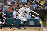 Indianapolis Indians pinch hitter Chris McGuiness (19) at bat during a game against the Rochester Red Wings on July 26, 2014 at Frontier Field in Rochester, New  York.  Rochester defeated Indianapolis 1-0.  (Mike Janes/Four Seam Images)