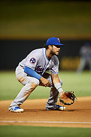 Tennessee Smokies third baseman Vimael Machin (13) during a game against the Birmingham Barons on August 16, 2018 at Regions FIeld in Birmingham, Alabama.  Tennessee defeated Birmingham 11-1.  (Mike Janes/Four Seam Images)