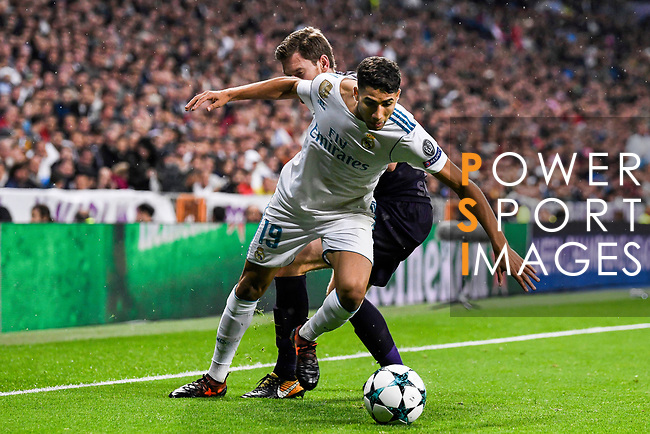 Achraf Hakimi of Real Madrid (front) fights for the ball with Jan Vertonghen of Tottenham Hotspur FC (back) during the UEFA Champions League 2017-18 match between Real Madrid and Tottenham Hotspur FC at Estadio Santiago Bernabeu on 17 October 2017 in Madrid, Spain. Photo by Diego Gonzalez / Power Sport Images