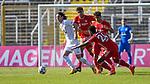 v.li.: Jeremias Lorch (Viktoria Köln, 4) Jamie Lawrence (Bayern München, FCB, 40) Christopher Scott (Bayern München, FCB, 24) Armindo Sieb (Bayern München, FCB, 41) im Zweikampf, Duell, duel, tackle, Dynamik, Action, Aktion beim Spiel in der 3. Liga, FC Bayern Muenchen II - FC Viktoria Koeln.<br /> <br /> Foto © PIX-Sportfotos *** Foto ist honorarpflichtig! *** Auf Anfrage in hoeherer Qualitaet/Aufloesung. Belegexemplar erbeten. Veroeffentlichung ausschliesslich fuer journalistisch-publizistische Zwecke. For editorial use only. DFL regulations prohibit any use of photographs as image sequences and/or quasi-video.