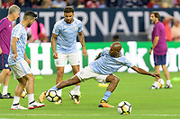 Houston, TX - Thursday July 20, 2017: Manchester City players warming up during a match between Manchester United and Manchester City in the 2017 International Champions Cup at NRG Stadium.