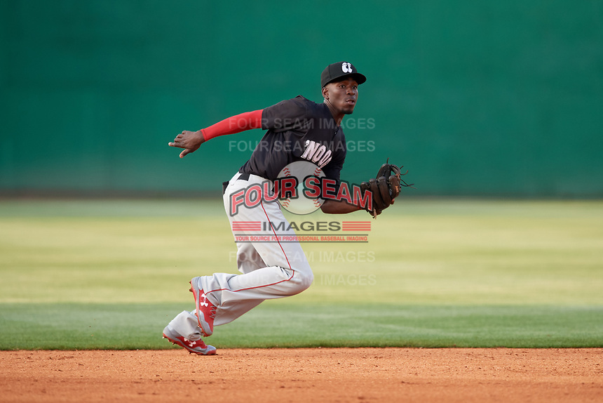 Chattanooga Lookouts shortstop Nick Gordon (5) ranges to his left during a game against the Jackson Generals on April 29, 2017 at The Ballpark at Jackson in Jackson, Tennessee.  Jackson defeated Chattanooga 7-4.  (Mike Janes/Four Seam Images)