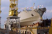 - launch of the amphibious assault ship S.Giorgio for  Italian Navy at Riva Trigoso Fincantieri shipyards  (Genoa)<br /> <br /> - varo della nave da assalto anfibio S.Giorgio per la Marina Militare italiana nei cantieri navali Fincantieri di Riva Trigoso (Genova)