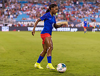 CHARLOTTE, NC - OCTOBER 3: Crystal Dunn #19 of the United States warms up during a game between Korea Republic and USWNT at Bank of America Stadium on October 3, 2019 in Charlotte, North Carolina.