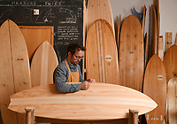 BNPS.co.uk (01202 558833)<br /> Pic: ZacharyCulpin/BNPS<br /> <br /> James shaping the boards in his workshop. <br /> <br /> Surf's up...<br /> <br /> The demand for sustainable wooden surfboards is on the rise - great news for carpenter James Otter who spends up to 80 hours on one of his beautiful handcrafted boards.<br /> <br /> James' company Otter Surfboards is the leading maker of wooden surfboards in the UK, if not Europe.<br /> <br /> He sources all his wood directly from woodlands in the south west and customers can even spend five days in his Cornish workshop learning how to make their own board.