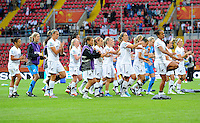 """Players of team New Zealand perform the """"Haka"""" during the FIFA Women's World Cup at the FIFA Stadium in Dresden, Germany on July 1st, 2011."""