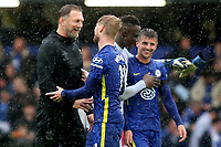 Southampton Manager, Ralph Hasenhutti, shares a smile with Chelsea's Timo Werner at the final whistle during Chelsea vs Southampton, Premier League Football at Stamford Bridge on 2nd October 2021