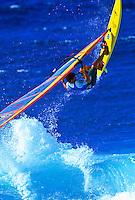Windsurfer mid air, Hookipa beachpark, Maui.