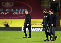 17th February 2021; Turf Moor, Burnley, Lanchashire, England; English Premier League Football, Burnley versus Fulham; Burnley manager Sean Dyche walks across the pitch at half time followed by Fulham manager Scott Parker