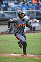 Hidekel Gonzalez (37) of the Boise Hawks runs to first base during a game against the Everett AquaSox at Everett Memorial Stadium on July 21, 2017 in Everett, Washington. Boise defeated Everett, 10-4. (Larry Goren/Four Seam Images)