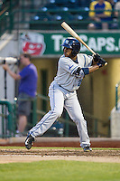 West Michigan Whitecaps outfielder Rashad Brown (25) at bat against the Fort Wayne TinCaps on May 23, 2016 at Parkview Field in Fort Wayne, Indiana. The TinCaps defeated the Whitecaps 3-0. (Andrew Woolley/Four Seam Images)