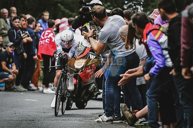 Tadej Pogacar (SLO) UAE Team Emirates in action during Stage 5 of the 2021 Tour de France, an individual time trial running 27.2km from Change to Laval, France. 30th June 2021.  <br /> Picture: A.S.O./Pauline Ballet   Cyclefile<br /> <br /> All photos usage must carry mandatory copyright credit (© Cyclefile   A.S.O./Pauline Ballet)