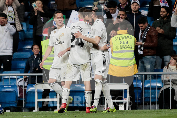 Real Madrid's players celebrate goal during La Liga match between Real Madrid and SD Huesca at Santiago Bernabeu Stadium in Madrid, Spain. March 31, 2019. (ALTERPHOTOS/A. Perez Meca)
