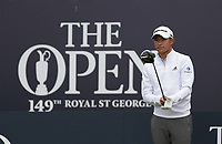 14th July 2021; The Royal St. George's Golf Club, Sandwich, Kent, England; The 149th Open Golf Championship, practice day; Collin Morikawa (USA) prepares to hit his driver from the the of the first hole