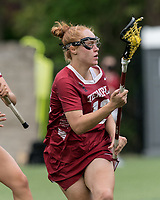 NEWTON, MA - MAY 16: Belle Mastropietro #12 of Temple University on the attack during NCAA Division I Women's Lacrosse Tournament second round game between Temple University and Boston College at Newton Campus Lacrosse Field on May 16, 2021 in Newton, Massachusetts.