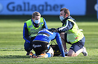 6th February 2021; Recreation Ground, Bath, Somerset, England; English Premiership Rugby, Bath versus Harlequins; Ben Spencer of Bath receives attention on the pitch