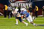 Air Force linebacker Jamil Cooks sacks Toledo quarterback Justin Olack during the first half in then Military Bowl at Robert F. Kennedy Stadium in Washington, D.C. on December 28, 2011.