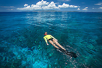 Snorkeler with St. John in the distance<br />