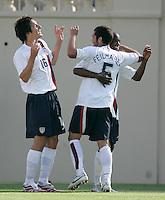 Sacha Kljestan, Benny Feilhaber and DaMarcus Beasley celebrate. USA defeated China, 4-1, at Spartan Stadium in San Jose, Calif., on June 2, 2007.