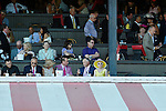 SARATOGA SPRINGS - AUGUST 27: Marylou Whitney (C) watches undercard races on Travers Stakes Day at Saratoga Race Course on August 27, 2016 in Saratoga Springs, New York. (Photo by Sue Kawczynski/Eclipse Sportswire/Getty Images)