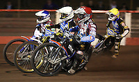 Heat 13: Peter Karlsson (red), Niels-Kristian Iversen (white), Piotr Swiderski (blue) and Rory Schlein (yellow) - Lakeside Hammers vs Kings Lynn Stars, Elite League Speedway at the Arena Essex Raceway, Pufleet - 23/04/13 - MANDATORY CREDIT: Rob Newell/TGSPHOTO - Self billing applies where appropriate - 0845 094 6026 - contact@tgsphoto.co.uk - NO UNPAID USE.