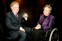 Montreal (Qc) CANADA - file photo-November 23, 2006- <br /> Jean Charest , Quebec Premier (L), Lise Thibault, Lieutenant Governor of Quebec  (R) .<br /> <br /> Charest was elected for the first time  April 14 2003, he is seeking a 3rd term in the  Quebec provincial election which will be held Dec 14, 2008.<br /> <br /> Lise Thibault (born April 2, 1939) is a Canadian civil servant who was appointed Lieutenant Governor of Quebec on January 30, 1997. As a former Vice-Regal representative of Elizabeth II, as Queen in Right of Quebec, she is styled The Honourable for life.<br /> <br /> Prime Minister Jean ChrÈtien, the Governor General appointed her Lieutenant-Governor of Quebec, following the resignation of Jean-Louis Roux. She became Quebec's first female viceroy, and the first disabled lieutenant governor in Canada; Thibault was permanently disabled in a tobogganing accident as a teenager, and uses a wheelchair. In February 2005 Madame Thibault suffered a stroke.<br /> <br /> She is one of the longest serving lieutenant governors in Canadian history, having served for over ten years. In 2007, she was accused of spending beyond the limits of her expense account. Prime Minister Stephen Harper announced that he would recommend the appointment of a new Lieutenant Governor after the provincial election; it was said by the Prime Minister's Office that the decision to replace Thibault had nothing to do with her spending. The appointment of her successor, Pierre Duchesne, was announced on May 18, 2007.<br /> Questions on her spending continued after her departure, with federal and provincial auditors general pointing to $700,000 in unjustified expenses (CBC). The files were turned over to the SuretÈ du QuÈbec (SQ) and Royal Canadian Mounted Police (RCMP) for investigation.<br /> <br /> Photo (c)  Images Distribution