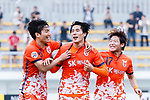 Jeju United Forward Jin Seonguk (C) celebrating his goal with his teammates during the AFC Champions League 2017 Round of 16 match between Jeju United FC (KOR) vs Urawa Red Diamonds (JPN) at the Jeju Sports Complex on 24 May 2017 in Jeju, South Korea. Photo by Yu Chun Christopher Wong / Power Sport Images