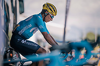 Nairo Quintana (COL/Movistar) warming up before the grueling stage ahead<br /> <br /> Stage 11: Albertville > La Rosière / Espace San Bernardo (108km)<br /> <br /> 105th Tour de France 2018<br /> ©kramon