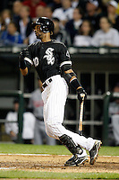 August 7, 2009: Shortstop Alexei Ramirez (10) of the Chicago White Sox at bat during a game vs. the Cleveland Indians at U.S. Cellular Field in Chicago, IL.  The Indians defeated the White Sox 6-2.  Photo By Mike Janes/Four Seam Images