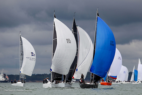 Downwind under spinnaker at the 2021 Quarter Ton Cup in Cowes