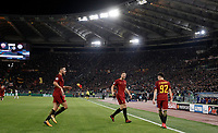 Football Soccer: UEFA Champions League AS Roma vs Chelsea Stadio Olimpico Rome, Italy, October 31, 2017. <br /> Roma's Stephan El Shaarawy (r) celebrates with his teammates Kevin Strootman (l) and Edin Dzeko (c) after scoring his second goals during the Uefa Champions League football soccer match between AS Roma and Chelsea at Rome's Olympic stadium, October 31, 2017.<br /> UPDATE IMAGES PRESS/Isabella Bonotto