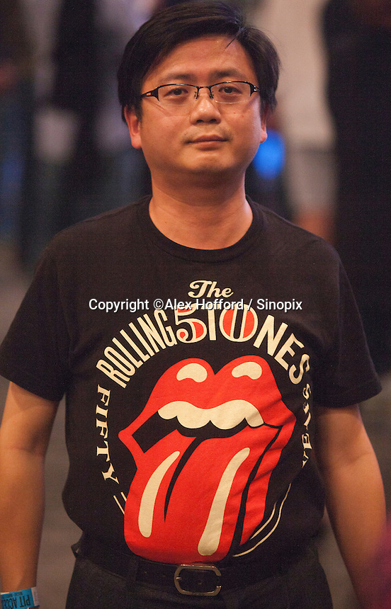 A Taiwanese fan of The Rolling Stones is seen at a sold out Rolling Stones concert in Macau, China, 09 March 2014. The show, which forms part of the '14 On Fire' tour, claims to be the biggest rock gig the small ex-Portuguese enclave in southern China has ever seen, with VIP packages to see the rock gods retailing online for around 14,800 Hong Kong dollars (Euro 1,375.00). The last time The Rolling Stones visited southern China was just over a decade ago for two sold out concerts in Hong Kong in 2003. The Rolling Stones '14 On Fire' tour will visit Abu Dhabi, Japan, Macau, Shanghai, Singapore, Australia and New Zealand.