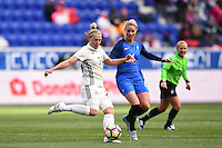 Harrison, NJ - Saturday, March 04, 2017: Kristin Demann, Amandine Henry during a SheBelieves Cup match between the women's national teams of France (FRA) and Germany (GER) at Red Bull Arena.