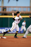 Bradenton Marauders second baseman Logan Ratledge (2) turns a double play during the second game of a doubleheader against the Tampa Yankees on June 14, 2017 at LECOM Park in Bradenton, Florida.  Tampa defeated Bradenton 5-1.  (Mike Janes/Four Seam Images)