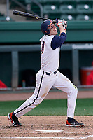 Right fielder Can McDonald (4) of the Illinois Fighting Illini bats in a game against the Ohio State Buckeyes on Friday, March 5, 2021, at Fluor Field at the West End in Greenville, South Carolina. (Tom Priddy/Four Seam Images)