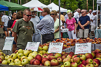 Uptown Westerville Farmers Market filled with summer fruits and vegetables.