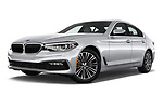 Stock pictures of low aggressive front three quarter view of a 2018 BMW 5 Series 530i 4 Door Sedan
