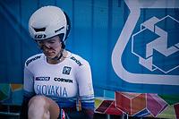 Tatiana Jasekova (SVK) post-finish<br /> <br /> WOMEN ELITE INDIVIDUAL TIME TRIAL<br /> Hall-Wattens to Innsbruck: 27.8 km<br /> <br /> UCI 2018 Road World Championships<br /> Innsbruck - Tirol / Austria