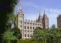 The exterior of the Mormon Temple in Temple Square. Salt Lake City, Utah.