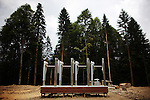 A turnstile awaits further construction at the 2014 Winter Olympics site at the Black Sea resort of Sochi, Russia, on Thursday, August 14, 2008.  <br /> <br /> As the mountainous Black Sea resort Sochi, Russia, prepares for the Winter Olympic games scheduled there for 2014, it emerges as a place replete with contradictions -- glitzy clubs and impoverished street vendors, progress and repression, Westernization and former Eastern bloc ideologies.