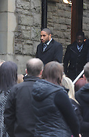Pictured: Swansea City's captain Ashley Williams, arriving at Morriston Crematorium.<br />