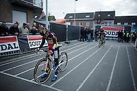 European and Belgian Champion Sanne Cant (BEL/Enertherm-BKCP) first on the start grid<br /> <br /> Jaarmarktcross Niel 2015  Elite Women's Race