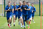St Johnstone Training….29.06.19   McDiarmid Park, Perth<br />Murray Davidson leads the way in some pre-season training runs with Steven Anderson, Michael O'Halloran and Matty Kennedy<br />Picture by Graeme Hart.<br />Copyright Perthshire Picture Agency<br />Tel: 01738 623350  Mobile: 07990 594431