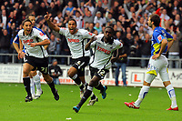 ATTENTION SPORTS PICTURE DESK<br /> Pictured: Nathan Dyer of Swansea (3rd L) celebrating his goal with team mates Federico Bessone (L) and Ashleigh Williams (2nd L) to the disappointment of Joe Ledley of Cardiff (R)<br /> Re: Coca Cola Championship, Swansea City Football Club v Cardiff City FC at the Liberty Stadium, Swansea, south Wales. Saturday 07 November 2009