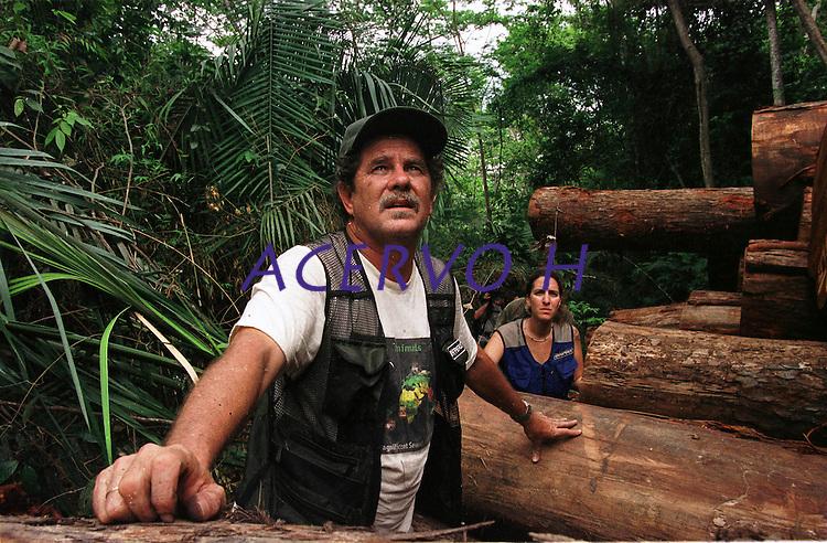 Paulo Adário do Greenpeace.<br /> <br /> Fiscais medem várias toras de mogno encontradas escondidas no meio da floresta. A maior operação feita pelo Ibama até então na Amazônia resultou na apreenção de  9 mil m³de mogno, durou mais de uma semana e contou com o apoio do Greenpeace e 6 aeronaves.<br /> Uruará, Pará , Brasil.<br /> ©Foto: Paulo Santos/Interfoto<br /> 30/10/2001